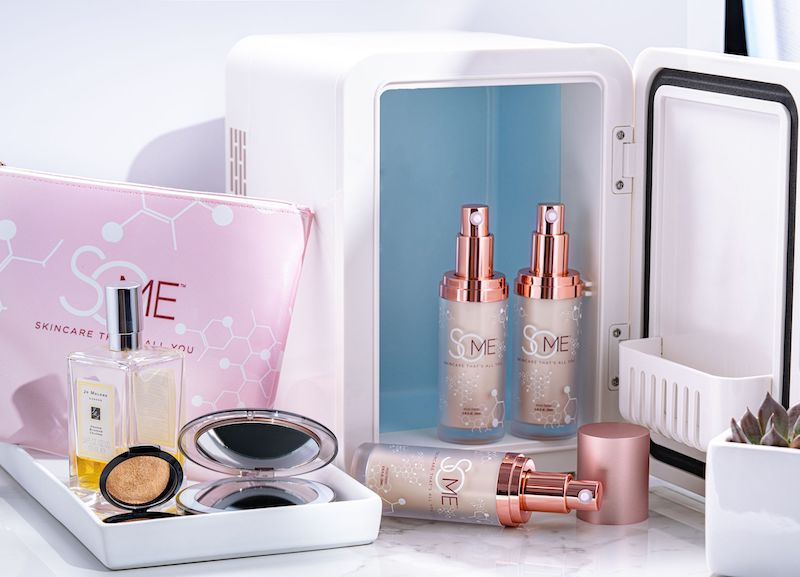 SoME Skincare products shown with the mini refrigerator needed to store them.